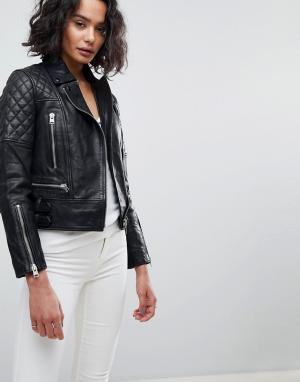 Кожаная куртка со стеганой отделкой AllSaints. Цвет: черный