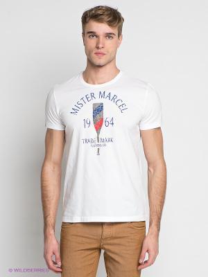 Футболка Little Marcel. Цвет: белый, красный, синий
