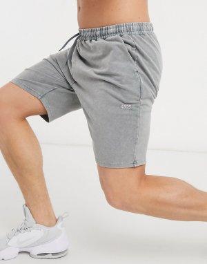 Спортивные трикотажные шорты с эффектом кислотной стирки -Серый ASOS 4505