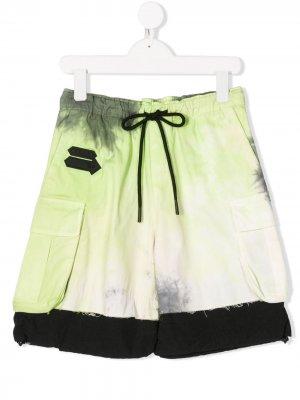 Спортивные шорты с принтом тай-дай Cinzia Araia Kids. Цвет: зеленый