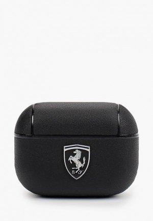 Чехол для наушников Ferrari Airpods Pro, Off-Track Genuine leather with metal logo Black. Цвет: черный