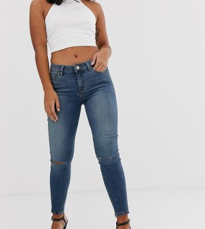 Темные выбеленные джинсы скинни с классической талией и рваной отделкой ASOS DESIGN Petite Lisbon-Синий