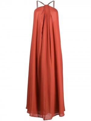 Платье макси со стразами Erika Cavallini. Цвет: красный