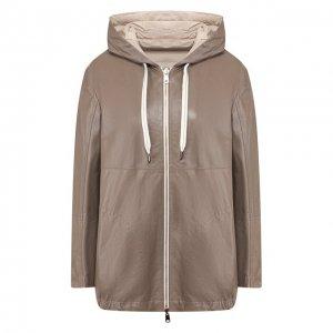 Кожаная куртка Brunello Cucinelli. Цвет: серый