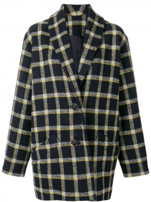 Пальто-кокон в клетку Derek Lam 10 Crosby. Цвет: синий