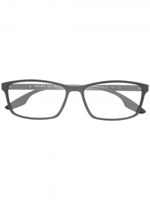 Очки в геометричной оправе Prada Eyewear. Цвет: серый