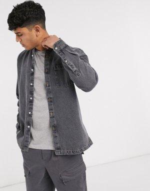 Черная джинсовая рубашка навыпуск -Черный ASOS DESIGN