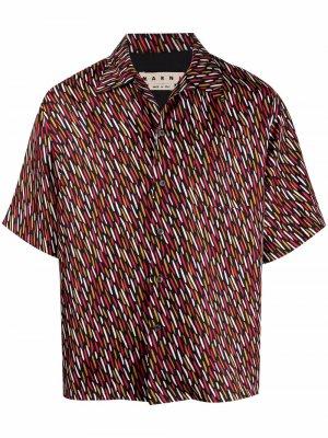 Рубашка с короткими рукавами и абстрактным принтом Marni. Цвет: черный