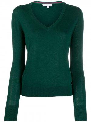 Пуловер свободного кроя с V-образным вырезом Patrizia Pepe. Цвет: зеленый