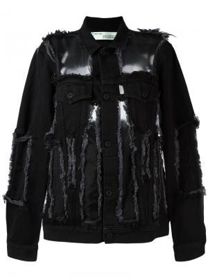 Джинсовая куртка с рваными деталями Off-White. Цвет: чёрный