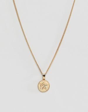 Эксклюзивное золотистое ожерелье с подвеской в виде монеты -Золотой Liars & Lovers