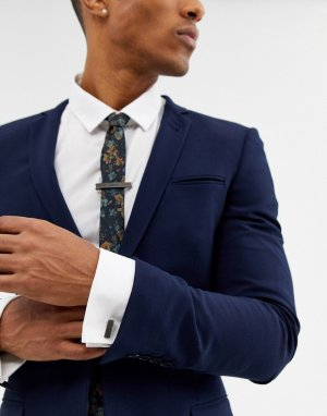 Подарочный набор с запонками и зажимом для галстука -Серый BOSS