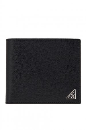 Компактный кожаный кошелек Prada. Цвет: черный