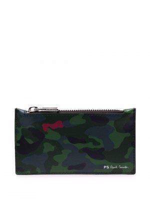 Камуфляжный кошелек на молнии PS Paul Smith. Цвет: зеленый