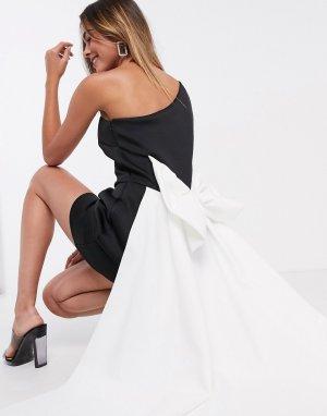 Монохромное платье мини с большим бантом Black Label-Мульти True Violet