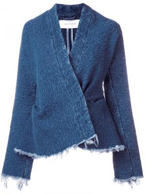Джинсовая куртка с запахом Marquesalmeida Marques'almeida. Цвет: синий