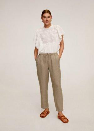 Прямые брюки с хлопком и льном - Linen Mango. Цвет: коричневый средний