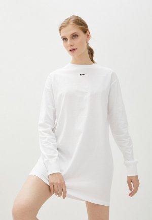 Платье Nike W NSW ESSNTL DRESS LS. Цвет: белый