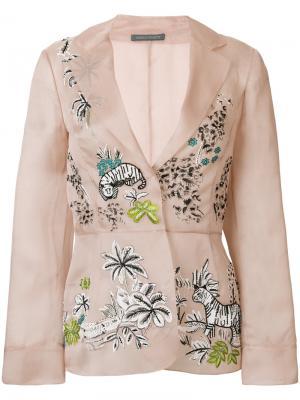 Декорированный пиджак с поясом Alberta Ferretti