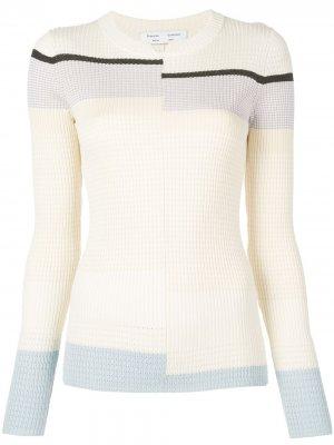 Пуловер тонкой вязки в рубчик Proenza Schouler White Label. Цвет: белый