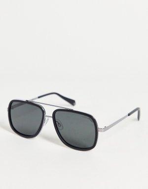 Солнцезащитные очки в стиле унисекс с квадратными линзами -Черный цвет Polaroid