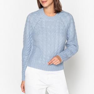 Пуловер с круглым вырезом и узором косы из плотного трикотажа SAMSOE AND. Цвет: небесно-голубой
