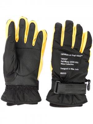 Дутые перчатки с логотипом Arrows Off-White. Цвет: черный