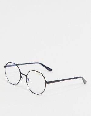 Круглые очки в черной оправе с защитой от синего света экранов -Черный Quay Australia