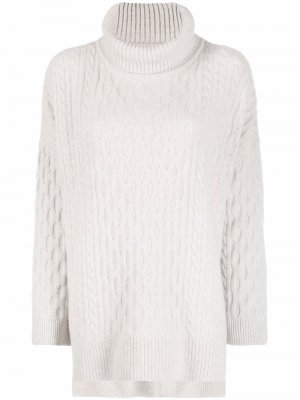 Cable-knit roll-neck jumper Barbour. Цвет: серый