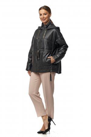 Женская кожаная куртка из натуральной кожи с капюшоном, отделка песец МОСМЕХА