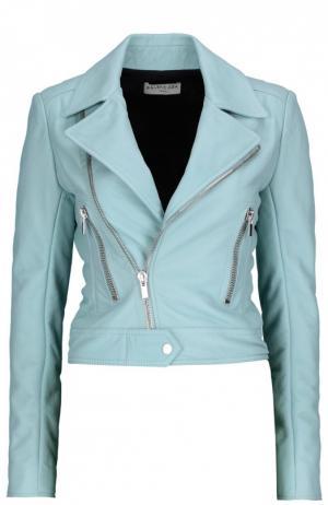 Кожаная куртка Balenciaga. Цвет: голубой