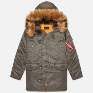 Мужская куртка парка N-3B Slim Fit Alpha Industries. Цвет: серый