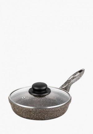 Сковорода Elan Gallery с крышкой 20 см. Цвет: коричневый