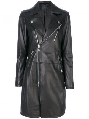 Удлиненная кожаная куртка Theory. Цвет: черный
