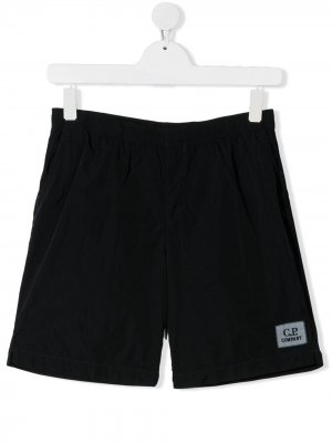 Спортивные шорты с логотипом C.P. Company Kids. Цвет: черный