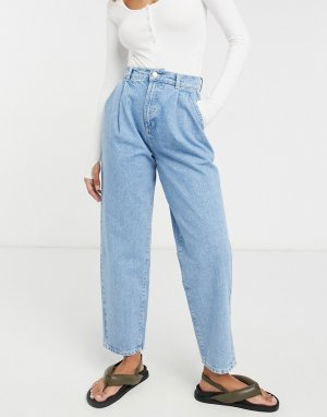 Выбеленные брюки-галифе из органического денима со складками спереди -Голубой ASOS DESIGN