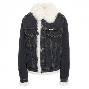 Джинсовая куртка с меховой подкладкой Forte Dei Marmi Couture. Цвет: чёрно-белый