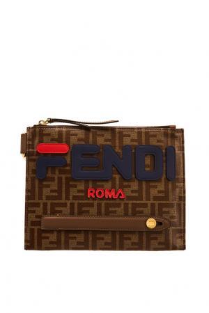 Коричневая сумка-мессенджер с логотипами x FILA Fendi. Цвет: multicolor