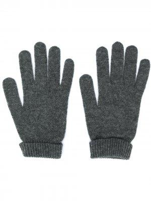 Трикотажные перчатки в рубчик Lamberto Losani. Цвет: серый