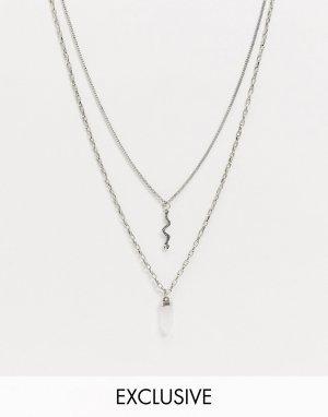 Серебристое многорядное ожерелье с подвеской в виде змейки -Серебристый Reclaimed Vintage