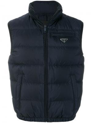 Куртка-пуховик без рукавов Prada. Цвет: синий