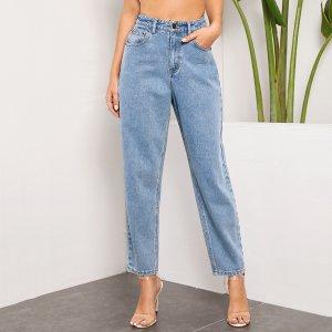 Модные джинсы-бойфренды SHEIN. Цвет: синий