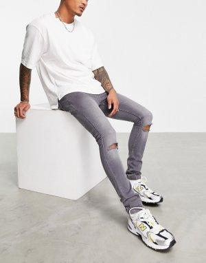 Серые зауженные джинсы со рваной отделкой -Серый Soul Star
