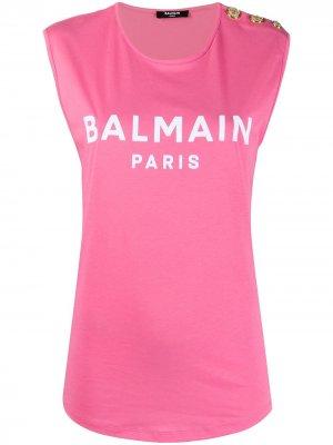 Топ без рукавов с логотипом Balmain. Цвет: розовый
