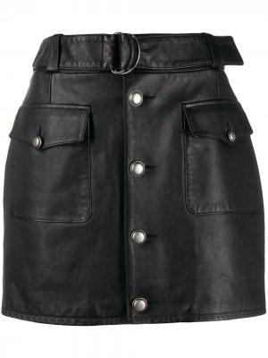 Мини-юбка с D-образной пряжкой Saint Laurent. Цвет: черный