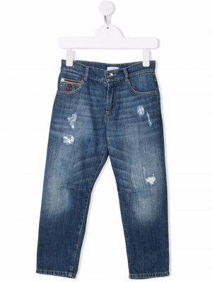 Прямые джинсы с эффектом потертости Brunello Cucinelli Kids. Цвет: синий