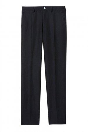 Синие классические брюки из шерсти, льна и мохера Burberry. Цвет: синий