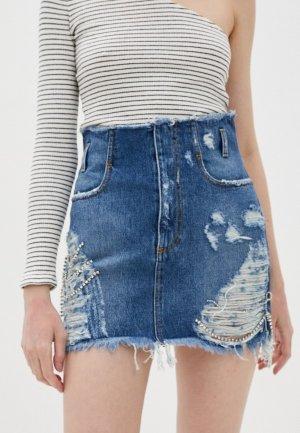 Юбка джинсовая Chiara Ferragni. Цвет: синий