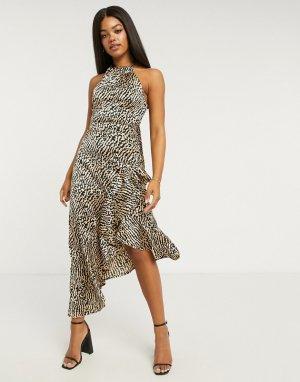 Асимметричное розовое платье миди с леопардовым принтом x Abbey Clancy-Мульти Lipsy