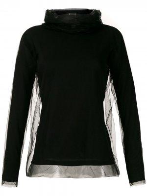 Блузка из тюля с высоким воротником Gloria Coelho. Цвет: черный